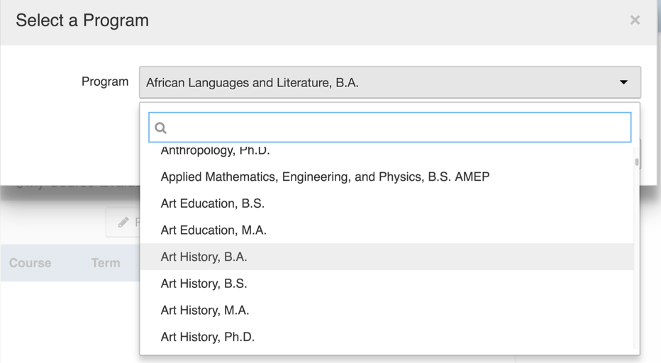 Snapshot of drop-down menu items in AEFIS